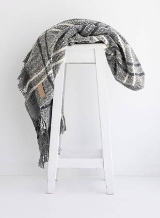 Wool Twill Blanket - Grey Check