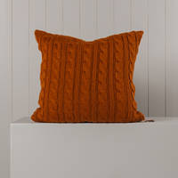 Hipi Cable Rib Cushion Cover Square - Tobacco