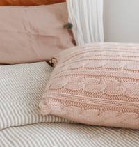 Hipi Cable Rib Cushion Cover Square - Soft Pink
