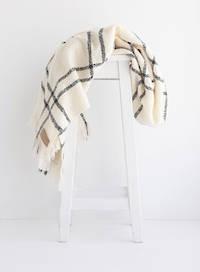 Wool Twill Blanket - Cream Check