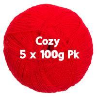 Cozy 4ply Red 5 x 100gm Pk