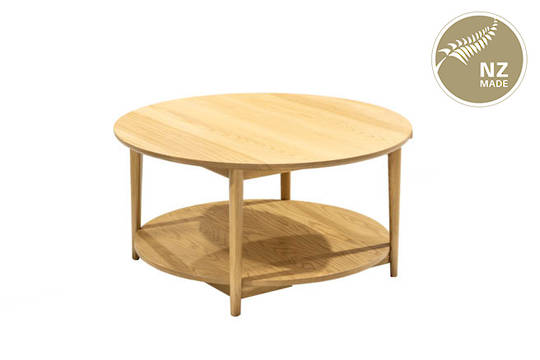 Finn 900 Round Coffee Table -  with Shelf