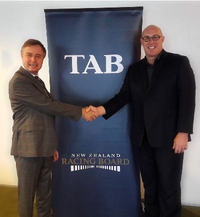 pictured NZRB CEO John Allen and Softball NZ CEO Tony Giles - Photo courtesy of TAB-907