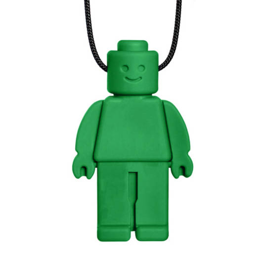 Chew Dude® Chewable Figurine Necklace - Forest Green - Toughest