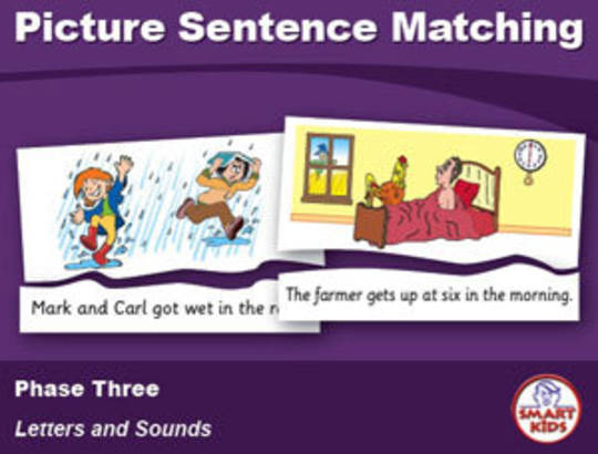 Picture Sentance Matching - Phase Three, Letters and Sounds