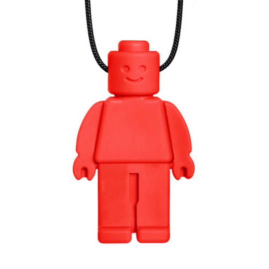 Chew Dude® Chewable Figurine Necklace- Red Standard