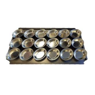 Palletized Pie Tins, (18) Oval 130x105x29mm, Tray size 720x405mm