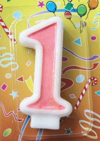 Candle  Glitter Pink Number #1 (80mm)