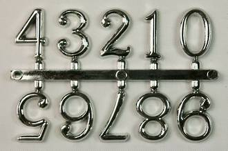 15mm 10pc Numeral Set, 0 - 9, Silver