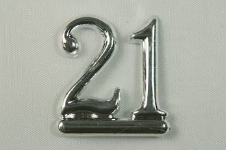 25mm Numeral 21, Silver (pack of 6)