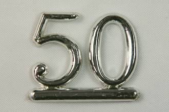 25mm Numeral 50, Silver (pack of 6)