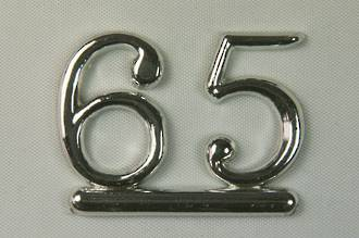 25mm Numeral 65, Silver (pack of 6)