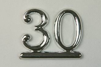 25mm Numeral 30, Silver (pack of 6)