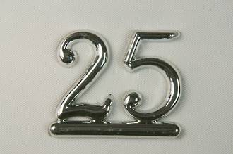 25mm Numeral 25, Silver (pack of 6)