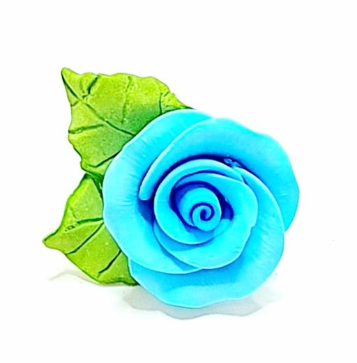 Icing Blue Roses With Leaves 40mm.  Box of 144