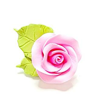 Icing Pink Roses With Leaves 40mm.  Box of 144