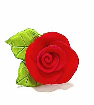 Icing Red Roses With Leaves 40mm.  Box of 144 - SOLD OUT
