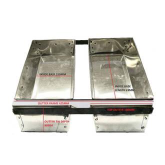 2 Strap Loaf Tin Inner base:  220mmx150mmx80mm Top 180mm (Frame 425x265mm)