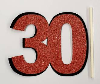 30th Glitter Copper Cake Topper (Card 90x70mm)