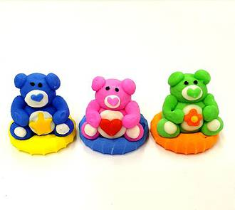 Bear Faces (Assorted) 3D Icing.  Retail Box of 6, 20mm