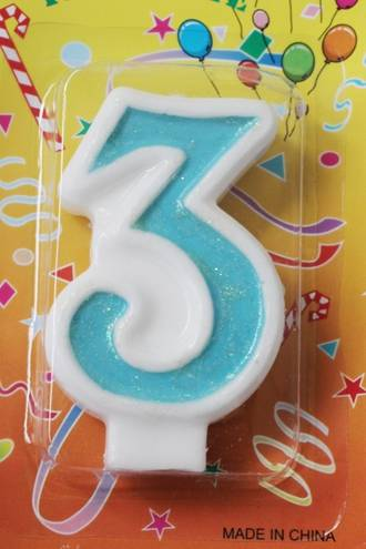 Candle Glitter Blue Number #3 (80mm)