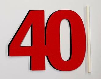 40th Glitter Red Cake Topper (Card 90x70mm)