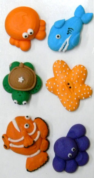 Sea Collection, 2D Assorted Icing Items (Retail Box of 6) - SOLD OUT