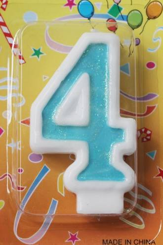 Candle Glitter Blue Number #4 (80mm)