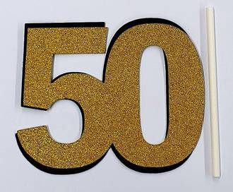 50th Glitter Gold Cake Topper (Card 85x70mm)