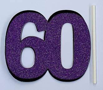 60th Glitter Purple Cake Topper (Card 85x70mm)