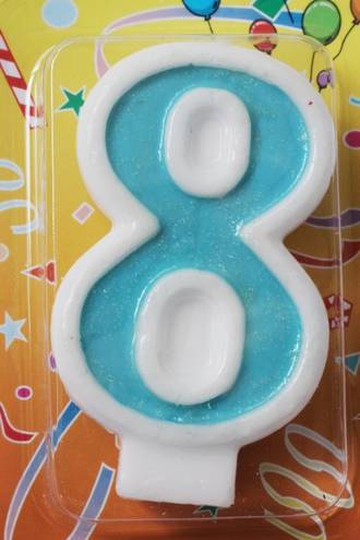 Candle Glitter Blue Number #8 (80mm)