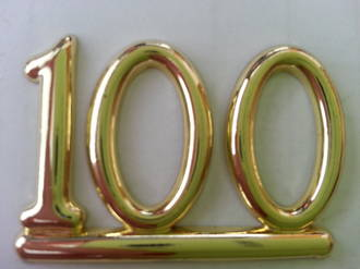 25mm Numeral 100, Gold (pack of 6)