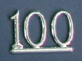 25mm Numeral 100, Silver (pack of 6)