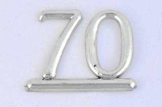 25mm Numeral 70, Silver (pack of 6)