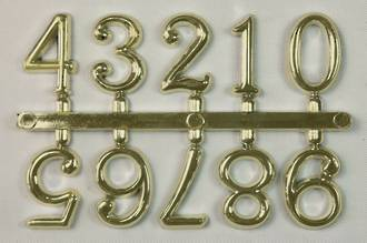 15mm 10pc Numeral Set, 0 - 9, Gold