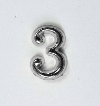 15mm Numeral 3, Silver