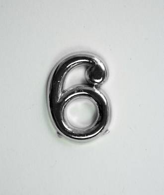 15mm Numeral 6, Silver