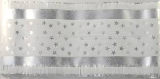 Star Pattern Band 7m x 76mm wide Silver on White