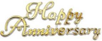 Happy Anniversary - Gold (11 x 4cm)