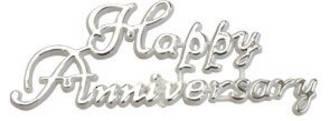 Happy Anniversary - Silver (11 x 4cm)