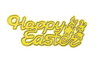 Happy Easter Plastic Motto, 75mm (Yellow)
