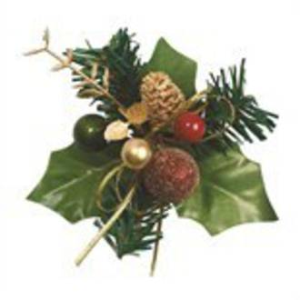 Holly & Bauble Red/Gold 70mm