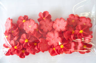 Icing Red Drop Flowers 18mm (Packet of 50)