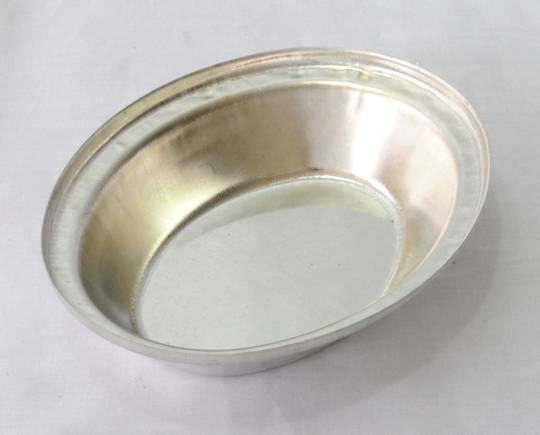 Single Pie Tin, Oval 130x105x29mm, Tin Plated