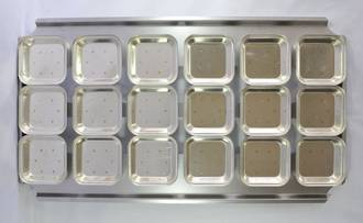 Palletized Pie Tins, (18) Square tins 108x27mm, Tray size 720x405mm