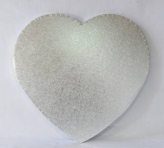 """Polystyrene Cake Board, Heart, Silver Covered, 18"""" (450mm)"""