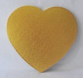 "Polystyrene Cake Board, Heart, Gold Covered, 18"" (450mm)"