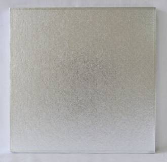 """Polystyrene Cake Board, Square, Silver Covered, 9"""" (225mm)"""