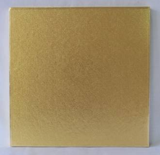 "Polystyrene Cake Board, Square, Gold Covered, 14"" (350mm)"