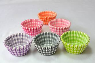 Cupcake Paper Cases Gingham Assorted 44x30mm (500) - SOLD OUT